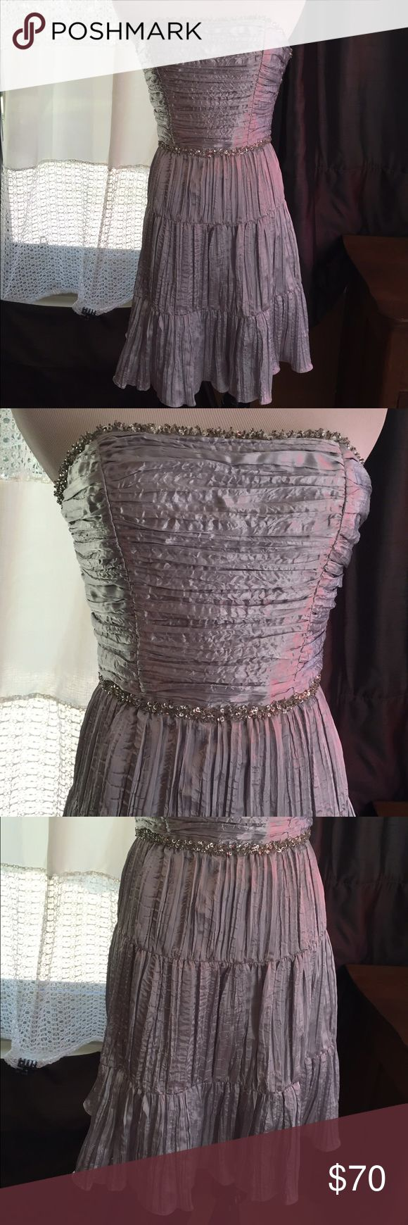Short silver dress Short silver formal dress by Morgan & Co. So cute!! Morgan & Co Dresses Strapless
