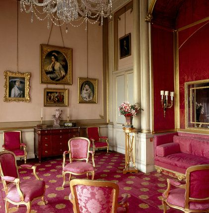 The Sultana Room at Attingham Park . The room takes its name from the sofa or 'sultane' in the alcove. This is one of the few rooms where the Regency silk survives.
