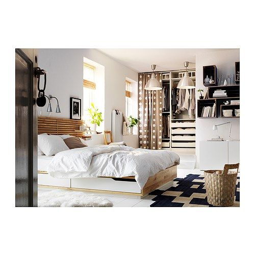 MANDAL Bed frame with storage - Queen - IKEA- love this bed... Use 3 headboards and it makes a very cool wall piece!
