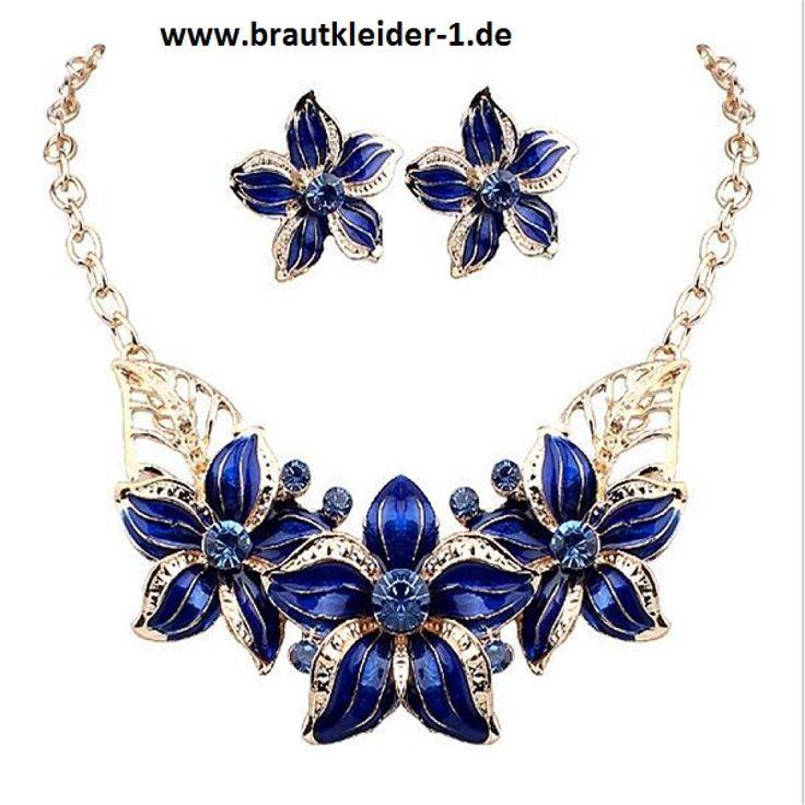 Braut Schmuck Set Kristall Halskette + Ohrringe in Blau