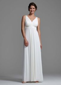 Sleeves would make it perfect!!Perfect for a summer wedding or special occasion! Knit Jersey gown is double lined, features a tank bodice with Charmeuse detail on straps & under bust. Surplice bodice is slimming & flattering.Available in ivory only. Fully Lined. Back zip. Imported polyester.To protect your dress, try our Non Woven Garment Bag.: Destinations Wedding Dresses, David Bridal, Wedding Dressses, Style Int13095, Jersey Gowns, Charmeuse Details, Details Style, Knits Jersey, Vows Renewals