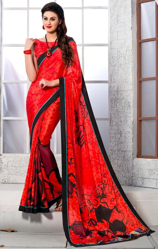 #Red Crepe Silk #Saree with #Blouse