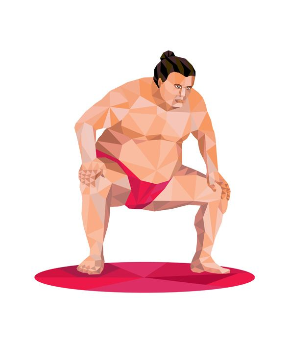 Low polygon illustration of a Japanese sumo wrestler in squat position squatting facing front set on isolated white background.The zipped file includes editable vector EPS, hi-res JPG and