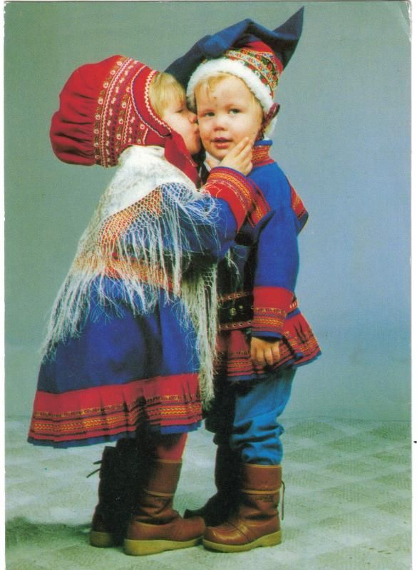 Finland ...adorable pair of Finnish children in traditional costume ...