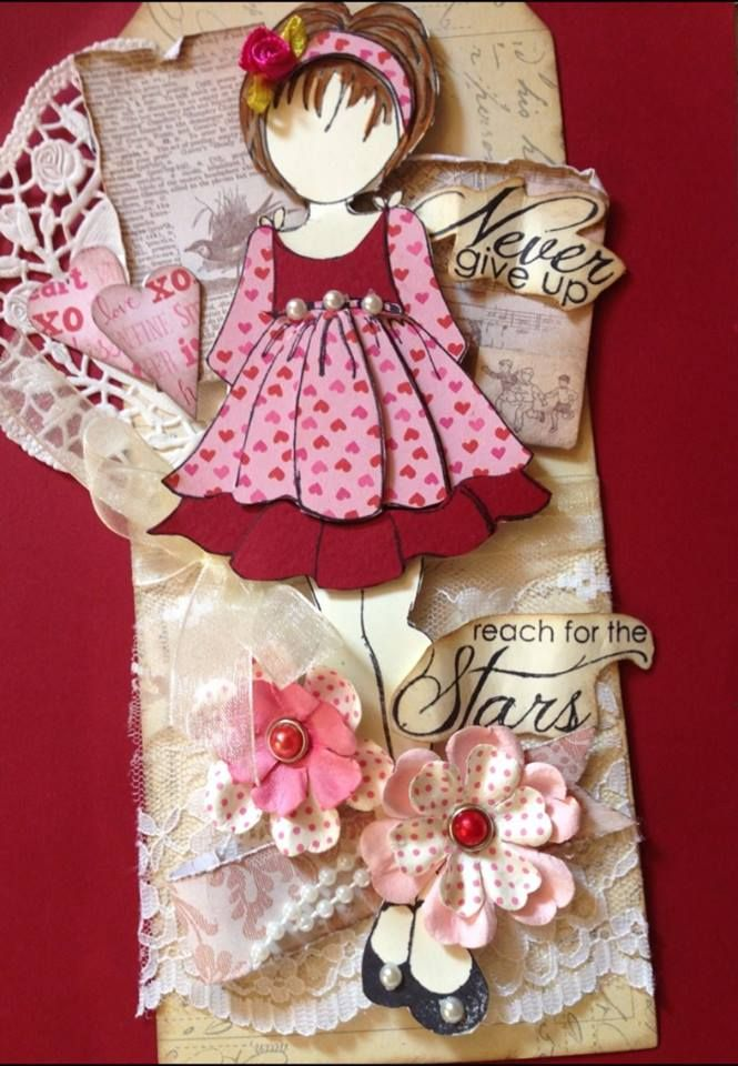 Prima - Julie Nutting stamp - Doll with Ruffle Dress