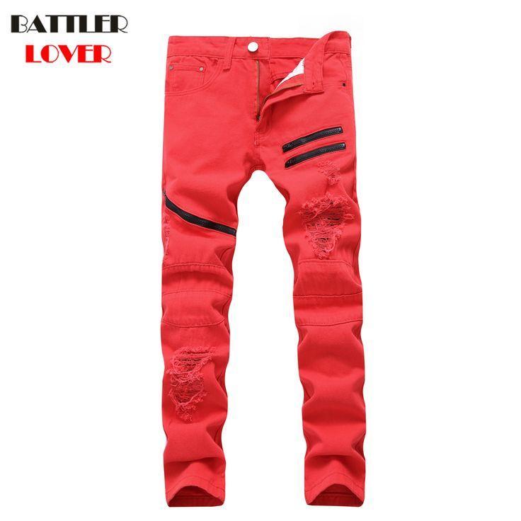 BATTLERLOVER Jeans Men Biker Jeans Pants Skinny Denim Trousers New Mens Jean Homme Zipper Skinny Warm Mens Destroyed Slim Jean