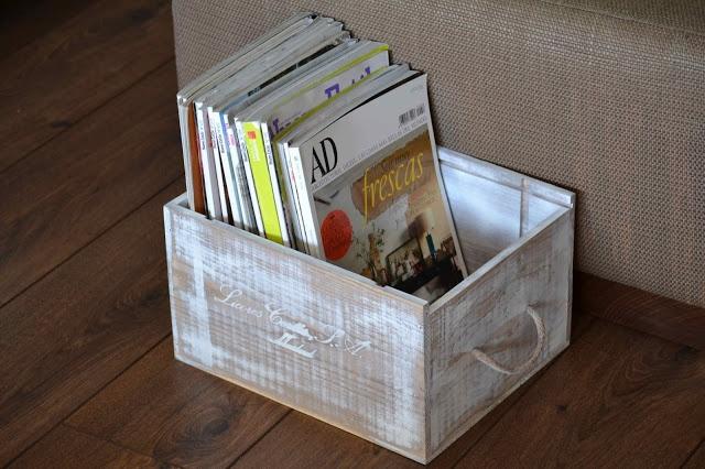 Oro y Menta: Revistero DIY reciclando caja de vino