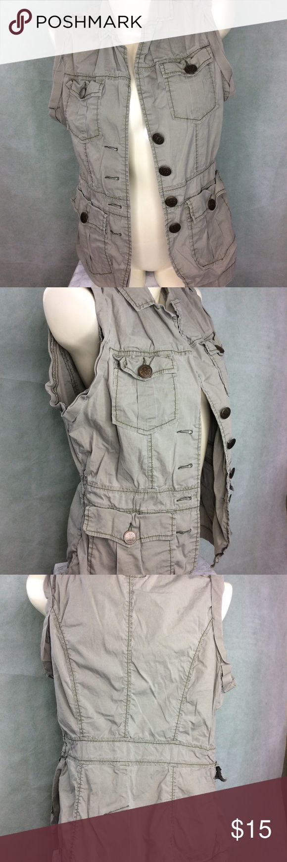 Olive green Jessica Simpson vest Cute and edgy olive green colored vest with 4 pockets by Jessica Simpson Jessica Simpson Jackets & Coats Vests