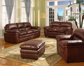 Baxton Studio Redding Cognac Brown Leather Modern Sofa Set