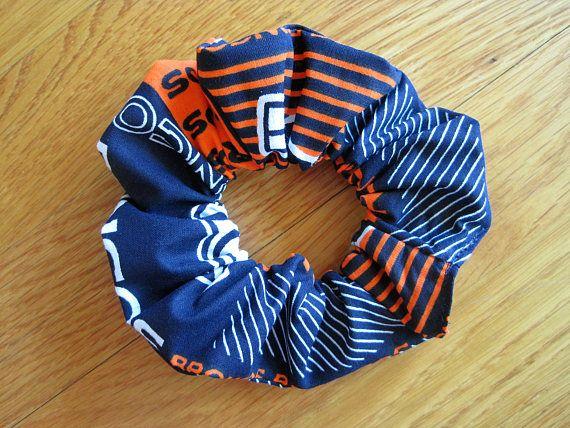 Sports Scrunchies Handmade from Denver Broncos COTTON Block Stripe, Orange White Navy Blue NFL pro Football Team Ponytail holder Gift Women ~ Available on www.MaliakeiBags.com