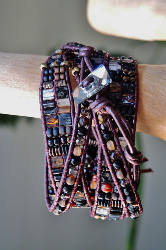 DARK ROAST  4 Wrap Burgundy Leather by BraceletsofBlueRidge