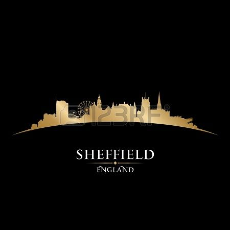 Sheffield England city skyline silhouette. Vector illustration Stock Photo - 22868643