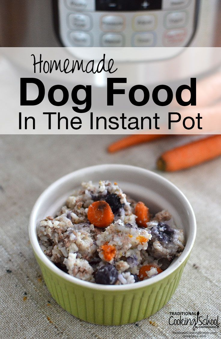Homemade Dog Food In The Instant Pot   We had a flea-infested, overweight, balding dog with halitosis... great. With our vet's support, we switched to homemade dog food, and we've seen radical results! Here's my easy and healthy recipe for homemade dog food in the Instant Pot with a grain-free adaptation for dogs with allergies or weight issues.   TraditionalCookingSchool.com