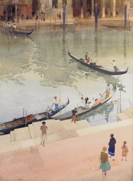 Traghetto, Grand Canal, Venice, Sir William Russell Flint. (1880 - 1969)