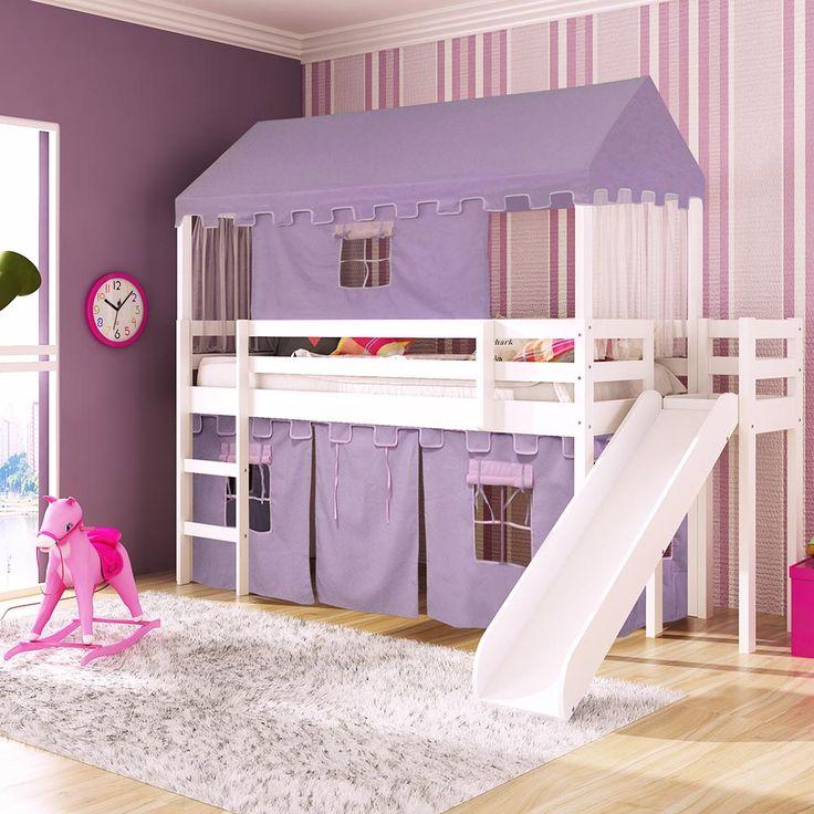 Cama infantil com escorregador Lateral/Transversal Tenda Castelo Lilás Telhado Completo - Casatema - CasaTema