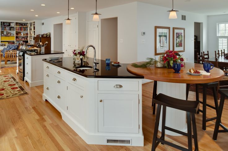 Traditional kitchen wood top rounded island end for eat for Kitchen island with rounded end