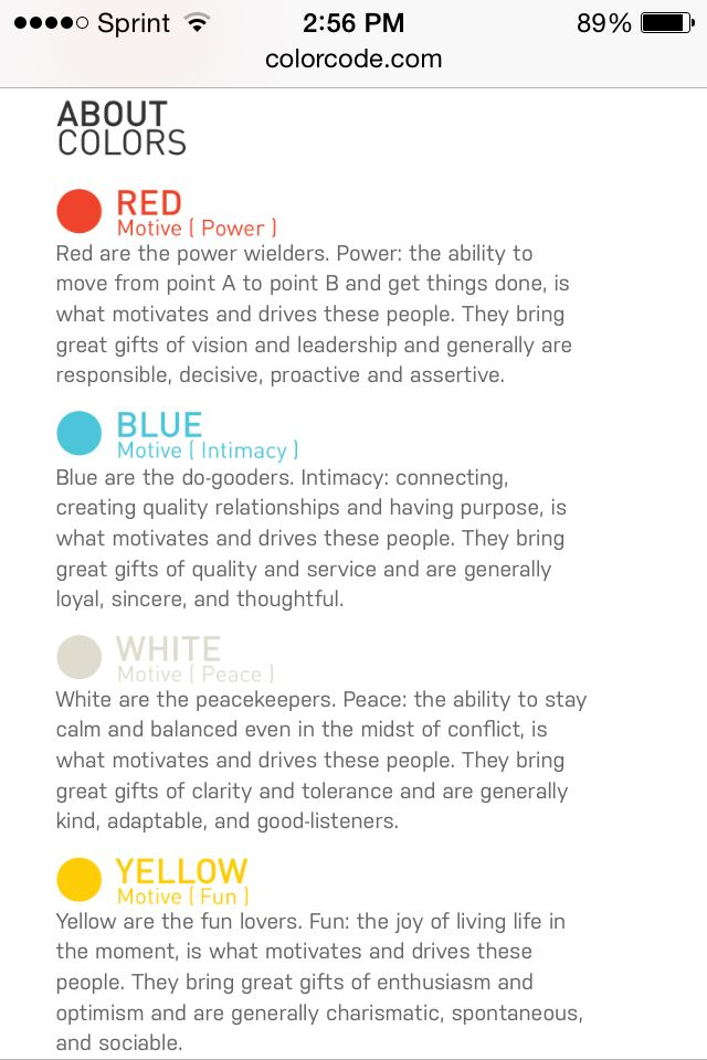Color Code Personality Science
