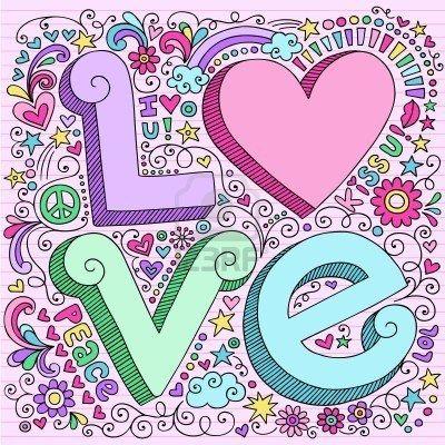 More cool!!! LOVE 3D Drawn mano Lettering Psychedelic portátil Groovy Doodle diseño elementos en Pink ilustración con líneas de Sketchbook documento de antecedentes - vector  Foto de archivo - 8197685