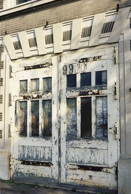 Doors, Abandoned Fire Station (Before Restoration)--Detroit MI