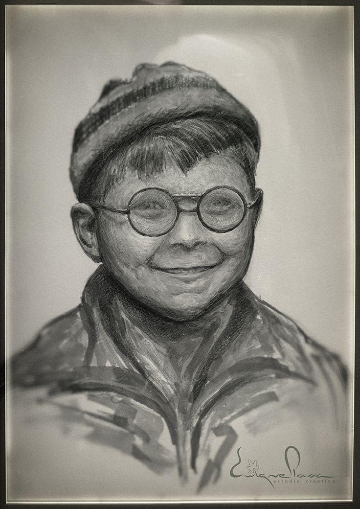 Retrato niño con gafas, Tinta, rotulador y acuarela. Enrique Parra