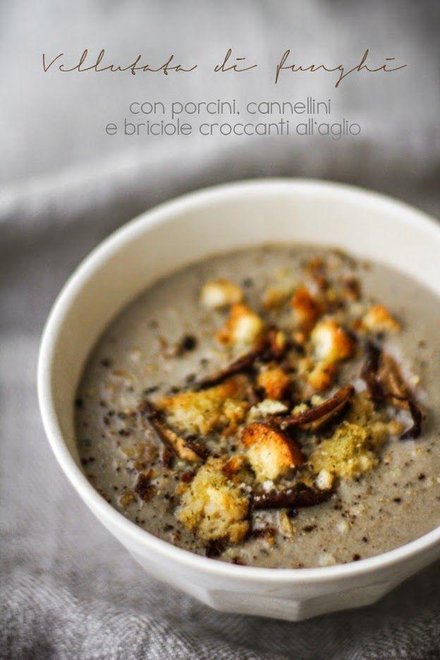 - VANIGLIA - storie di cucina: Vellutata di funghi con porcini, cannellini, panna acida e briciole croccanti al profumo d'aglio