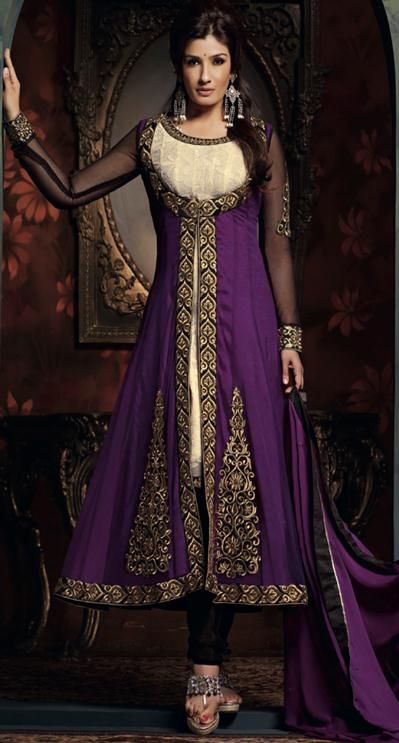 $108.67 Bollywood Purple Embroidered Net Long Anarkali Salwar Kameez 22860