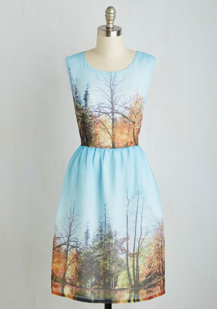 My Forest Love Dress. Donning this dress, aglow in sky blue, always reminds you of your deepest love - nature! #multi #modcloth