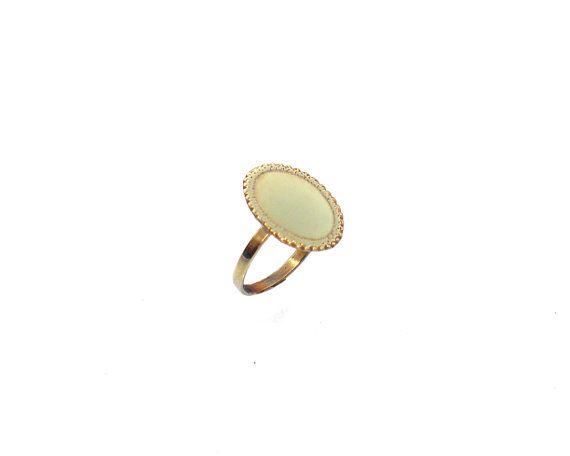 Pinky oro anillo - forma Oval Ring - Anillo de nudillo de latón - declaración…