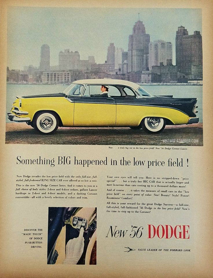 1956 Dodge Coronet Lancer Vintage Ad - Woman Driving In The City