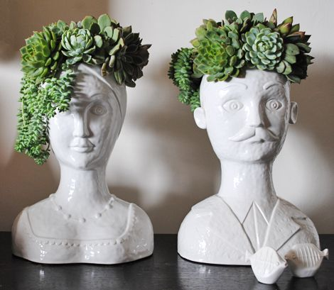 Succulent head man and lady via Oh Blog - love it!