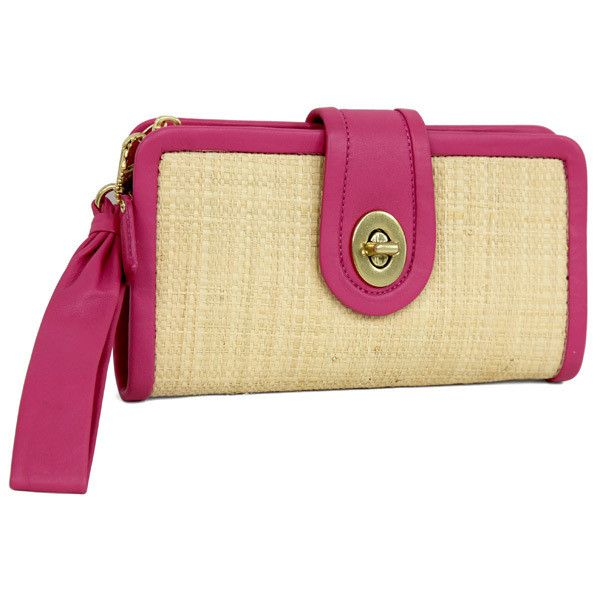 Coach Straw Pink Clutch Bag (€86) ❤ liked on Polyvore featuring bags, handbags, clutches, locking purse, coach purses, woven purse, coach clutches and kiss-lock handbags