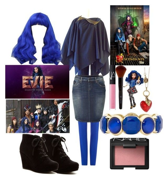 """My evie descendants outfit#descentdants #theparisvogue"" by theparisvogue ❤ liked on Polyvore featuring moda, Polo Ralph Lauren, Comme des Garçons, True Religion, Rampage, Wigs2You, Disney, NARS Cosmetics, Charming Life i Monet"