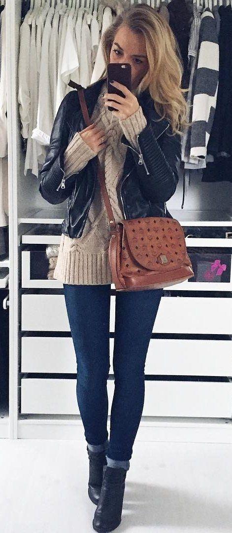 #preppy #fashion / Black Bomber Jacket // Cream Knit // Skinny Jeans // Black Booties