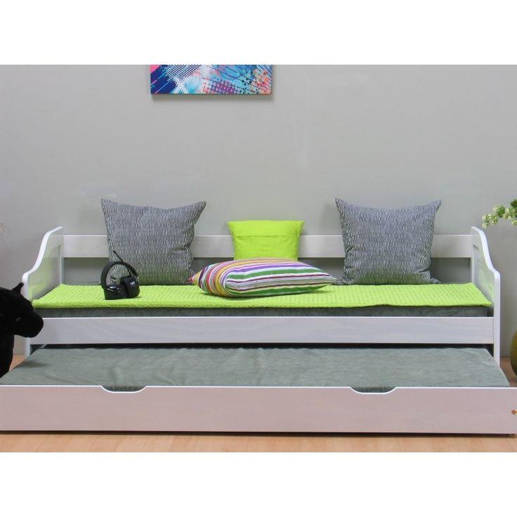 Leonie enkeltseng 90x200 cm med ekstra seng inkl. 2 ribbebunner, hvit.