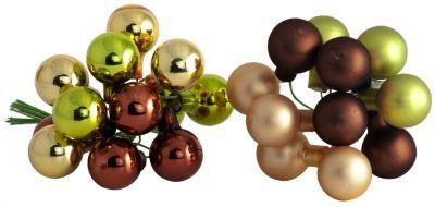 Weihnachtskugeln+aus+Glas,+gold,+grün,+braun,+2+cm+Ø € 2,95