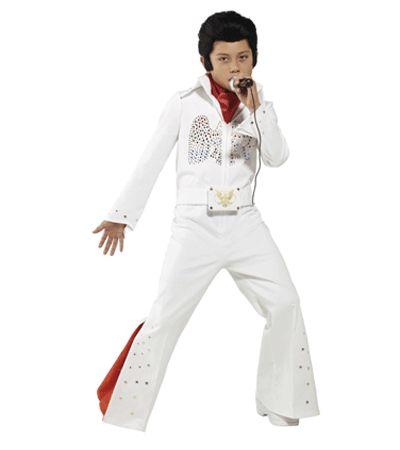 Elvis kostuum voor kinderen. Dit Elvis kostuum voor kinderen bestaat uit een witte jumpsuit met een rood gekleurde sjaal. Het Elvis pak is verkrijgbaar in verschillende kindermaten. Carnavalskleding 2015 #carnaval