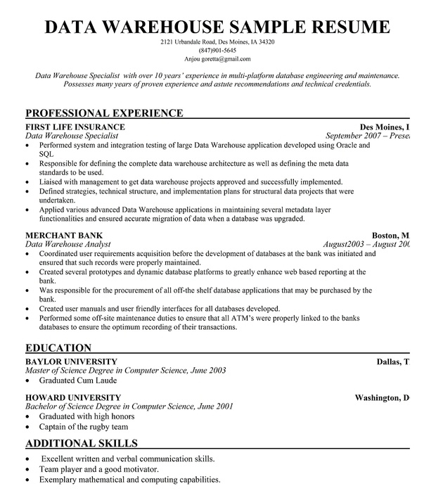Data #Warehouse Manager Resume for Free (resumecompanion - resume data entry