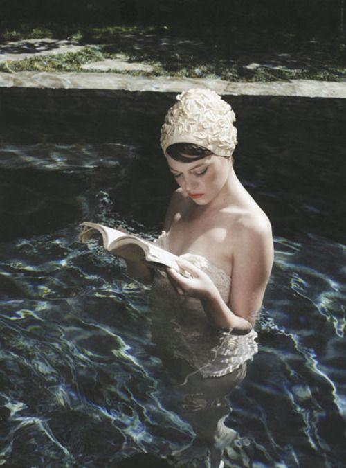 Miss Emma Stone by Kurt Iswarienko #EmmaStone #KurtIswarienko: Reading, Style, Pool, Emma Stone, Book, Stones, Photo, People