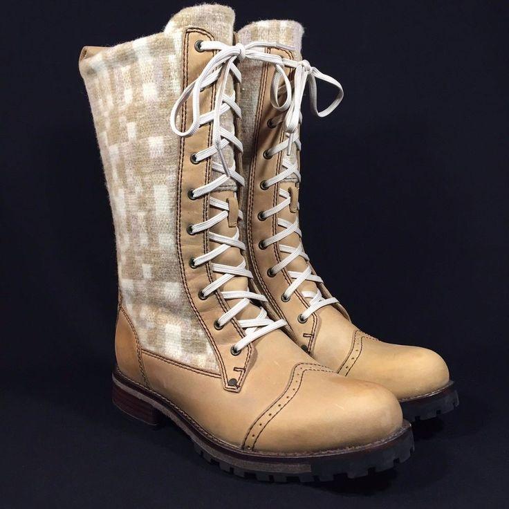 Woolrich Leather & Wool Santa Fe Mid-Calf Womens Teak/Cameo Combat Boots SIZE 7 | eBay
