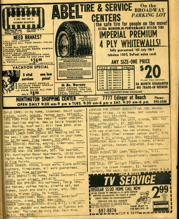 Car care ad from the 1966 Pennysaver.