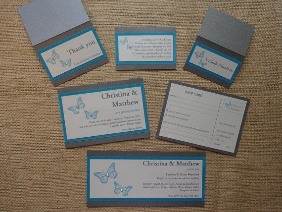 WEDDING INVITATION Butterfly Range of Hand Made by CreateTheDate, $8.57