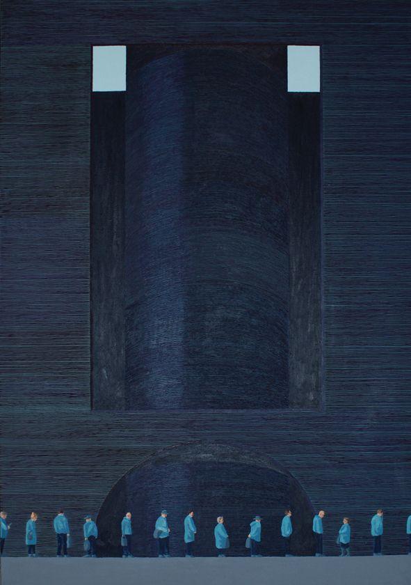 Dyju Dyjewska, kolejka do św brata Alberta, 185x130xm, oil on canvas
