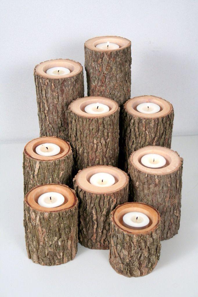 Cadeau Creatief met hout (boomstammen theelichten)