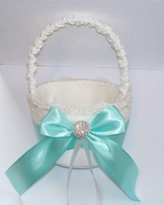 Wedding Flower Girl Basket with Tiffany Blue Bow and Rhinestone Center - The TIFFANY Basket