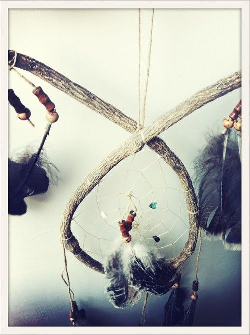 The Catcher in the Rye - Grey Feather.  Hand made South American dream catcher.  Keeps the bad dreams at the door.
