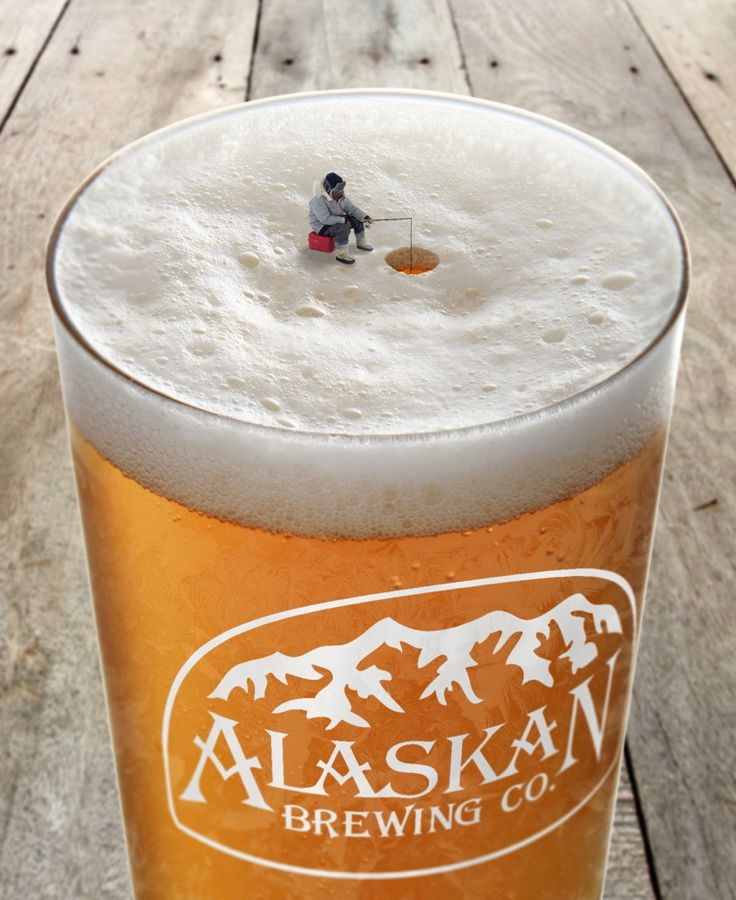 These beer advertisement uses minituization to demonstrate dominance.  The little guy fishing stands out because of contrast and isoluation but also because of his proportion to the beer.