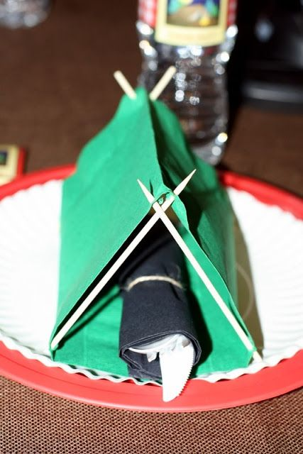 TOOTHPICK TENT NAPKINS: Scoutmama says... It's easy to pitch this party idea, but check out our other featured camping party ideas too.