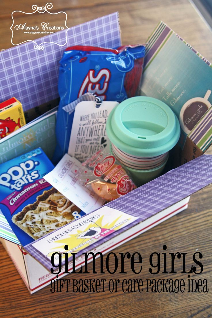 Gilmore Girls Gift Basket or care package idea.  What better way to celebrate the new episodes on Gilmore Girls?
