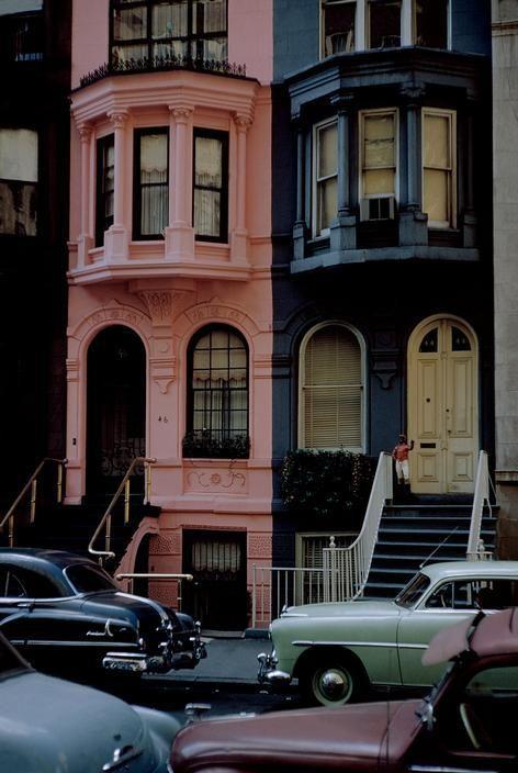 ny street , pink cute house