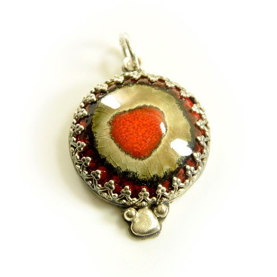 Pottery pendant with heart  sterling silver artistic by Ankanate